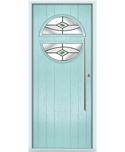 The Xenia Composite Door in Blue (Duck Egg) with Green Fusion Ellipse